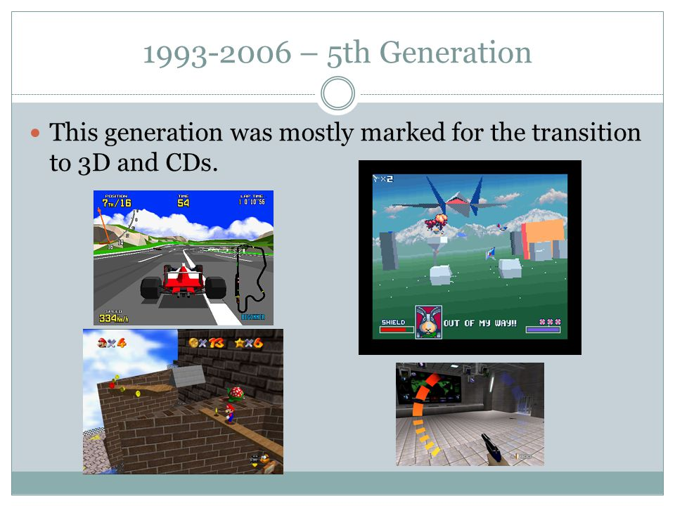 1993-2006 – 5th Generation This generation was mostly marked for the transition to 3D and CDs.