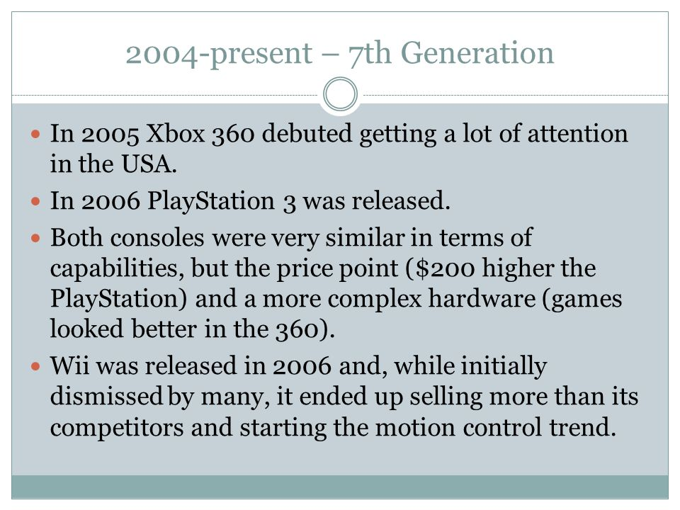 2004-present – 7th Generation In 2005 Xbox 360 debuted getting a lot of attention in the USA.