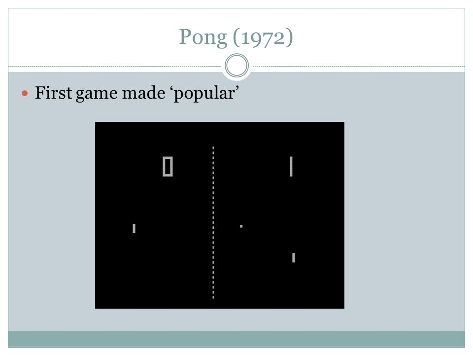Pong (1972) First game made 'popular'