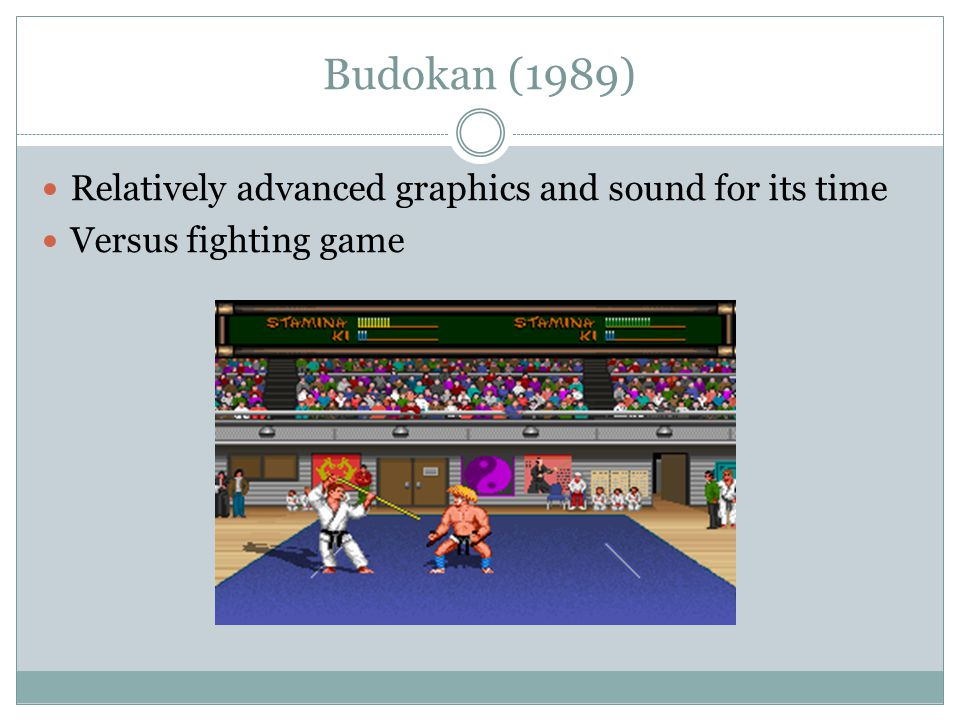 Budokan (1989) Relatively advanced graphics and sound for its time Versus fighting game