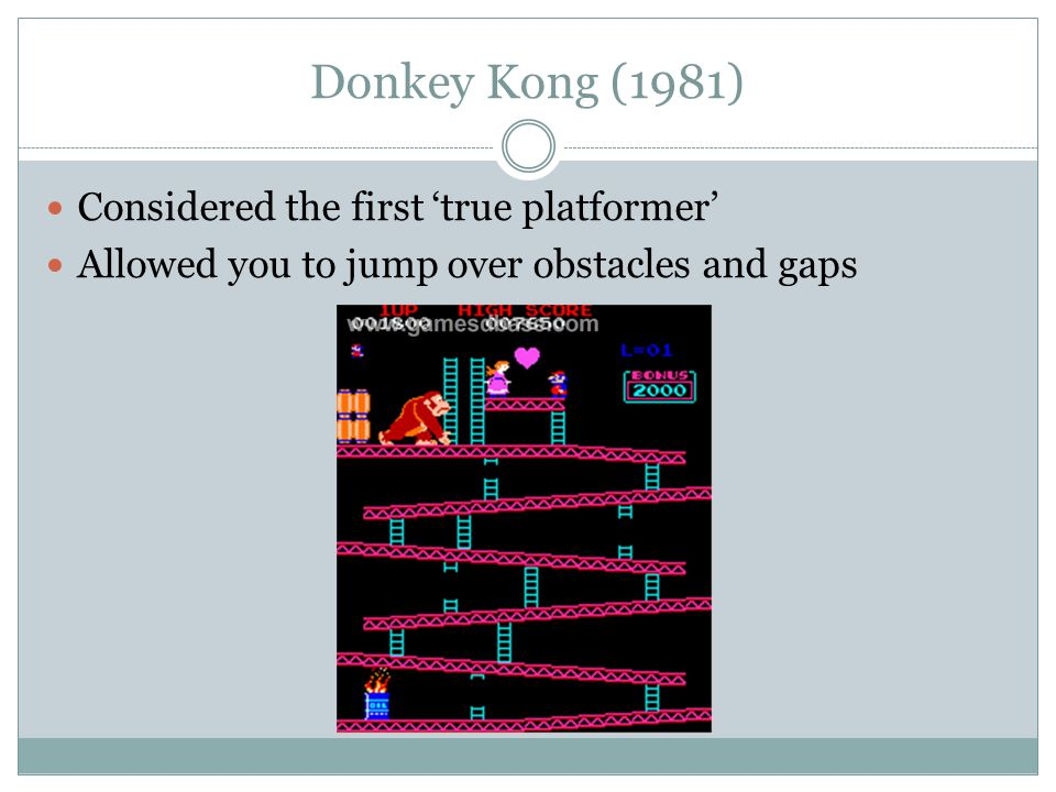 Donkey Kong (1981) Considered the first 'true platformer' Allowed you to jump over obstacles and gaps