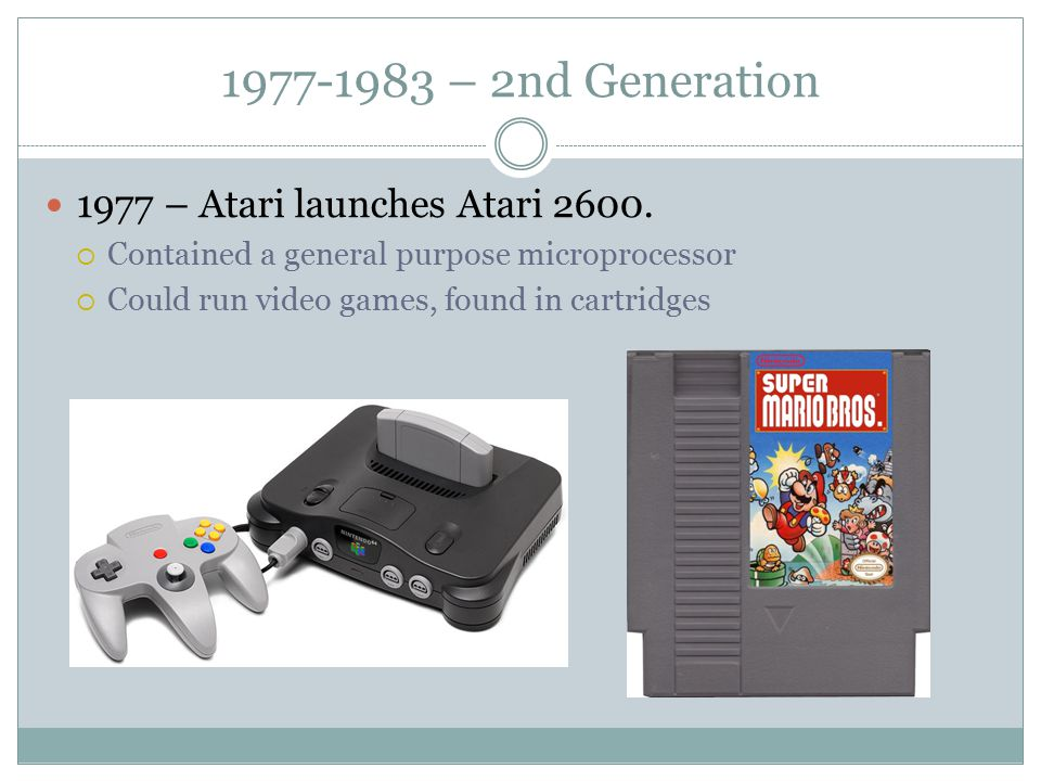 1977-1983 – 2nd Generation 1977 – Atari launches Atari 2600.