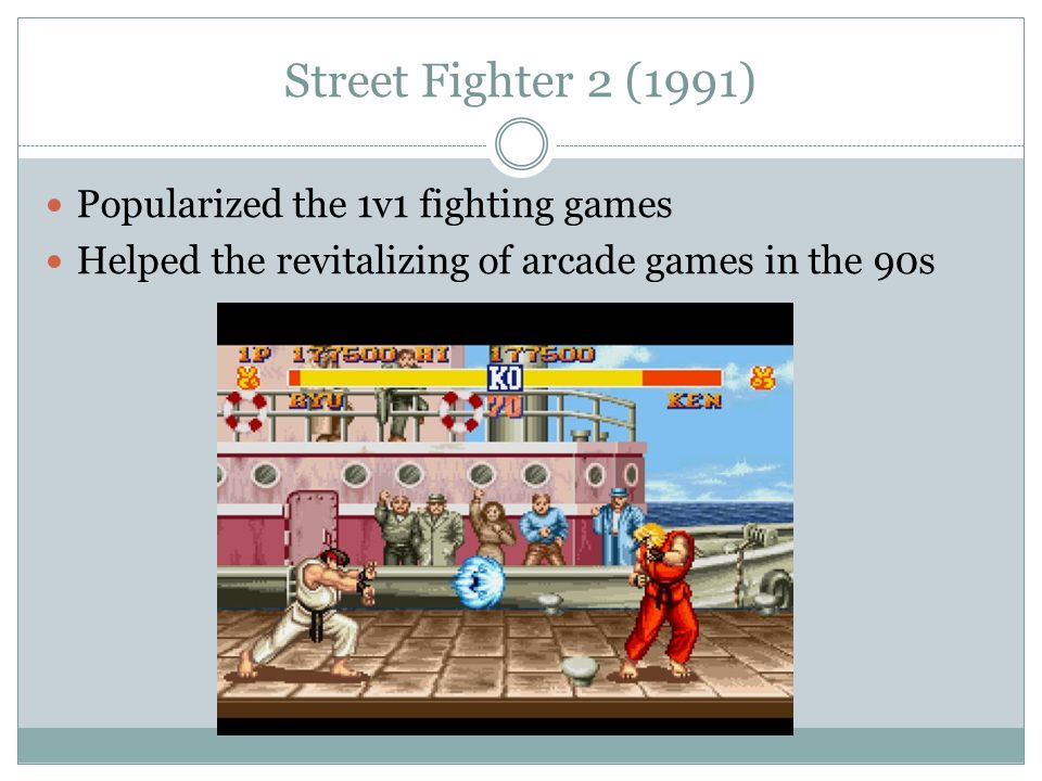 Street Fighter 2 (1991) Popularized the 1v1 fighting games Helped the revitalizing of arcade games in the 90s