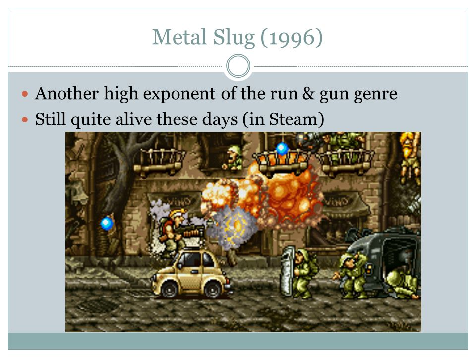 Metal Slug (1996) Another high exponent of the run & gun genre Still quite alive these days (in Steam)