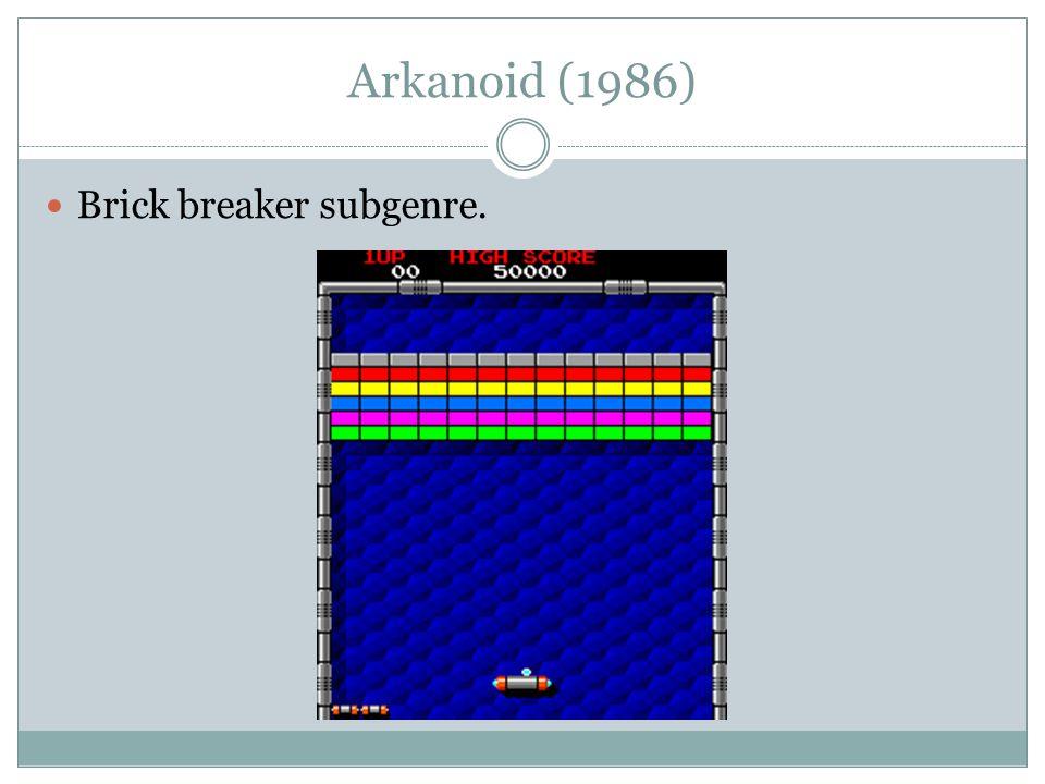 Arkanoid (1986) Brick breaker subgenre.