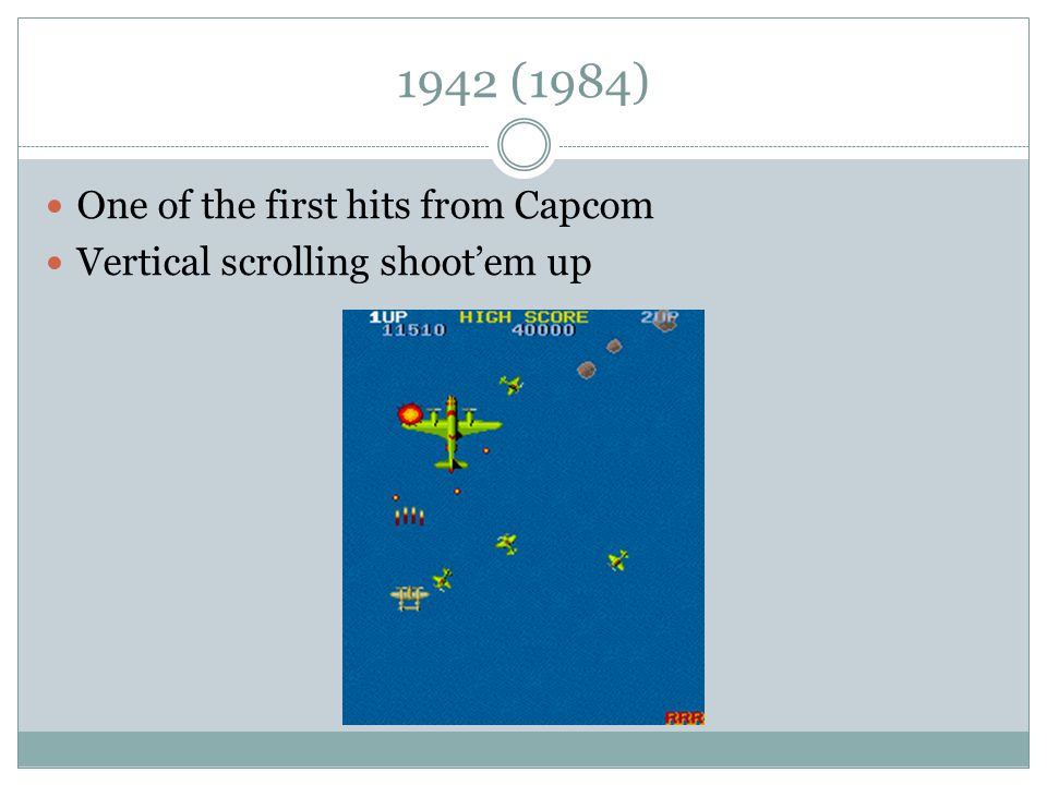 1942 (1984) One of the first hits from Capcom Vertical scrolling shoot'em up