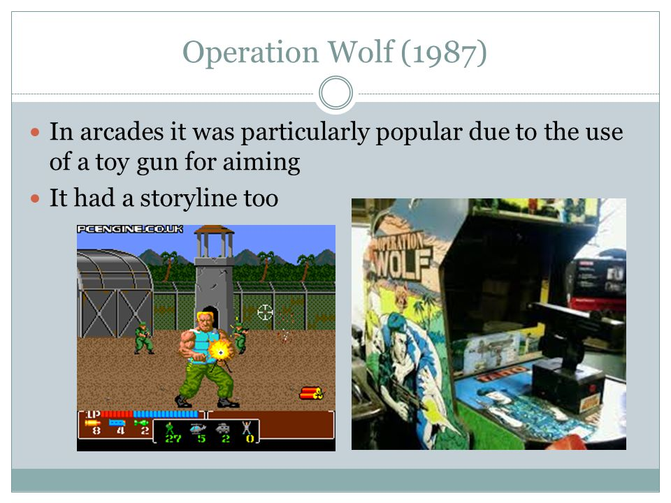 Operation Wolf (1987) In arcades it was particularly popular due to the use of a toy gun for aiming It had a storyline too