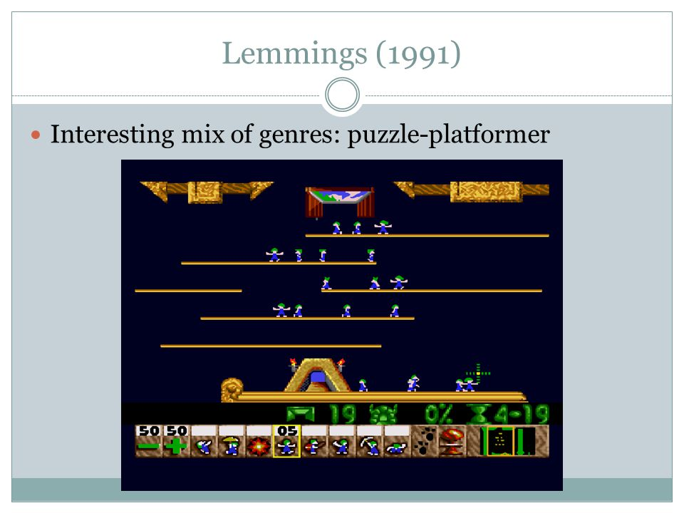 Lemmings (1991) Interesting mix of genres: puzzle-platformer