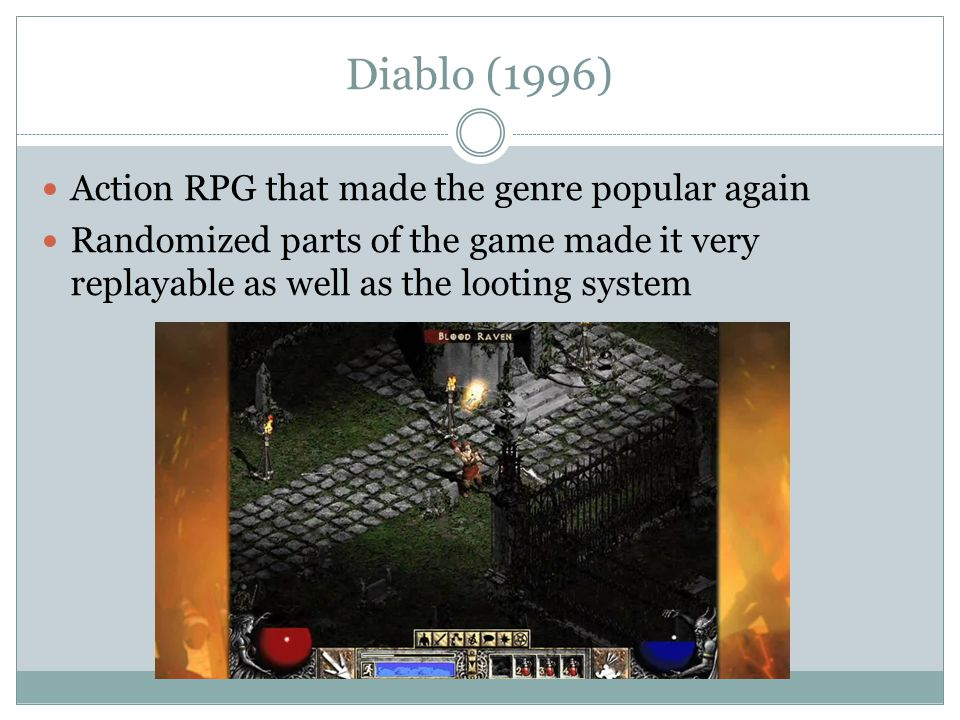 Diablo (1996) Action RPG that made the genre popular again Randomized parts of the game made it very replayable as well as the looting system