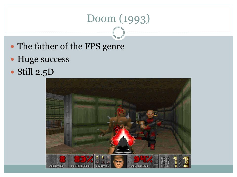 Doom (1993) The father of the FPS genre Huge success Still 2.5D