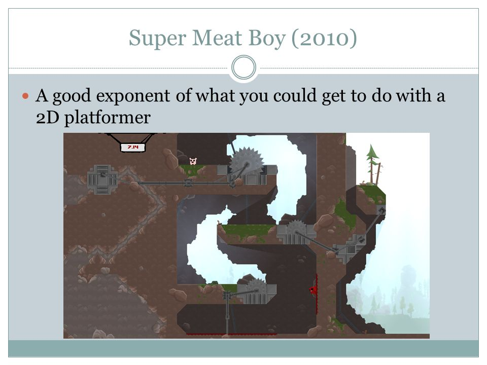 Super Meat Boy (2010) A good exponent of what you could get to do with a 2D platformer