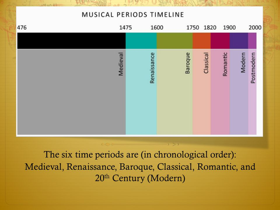 Medieval (500-1400) Most medieval music was vocal.