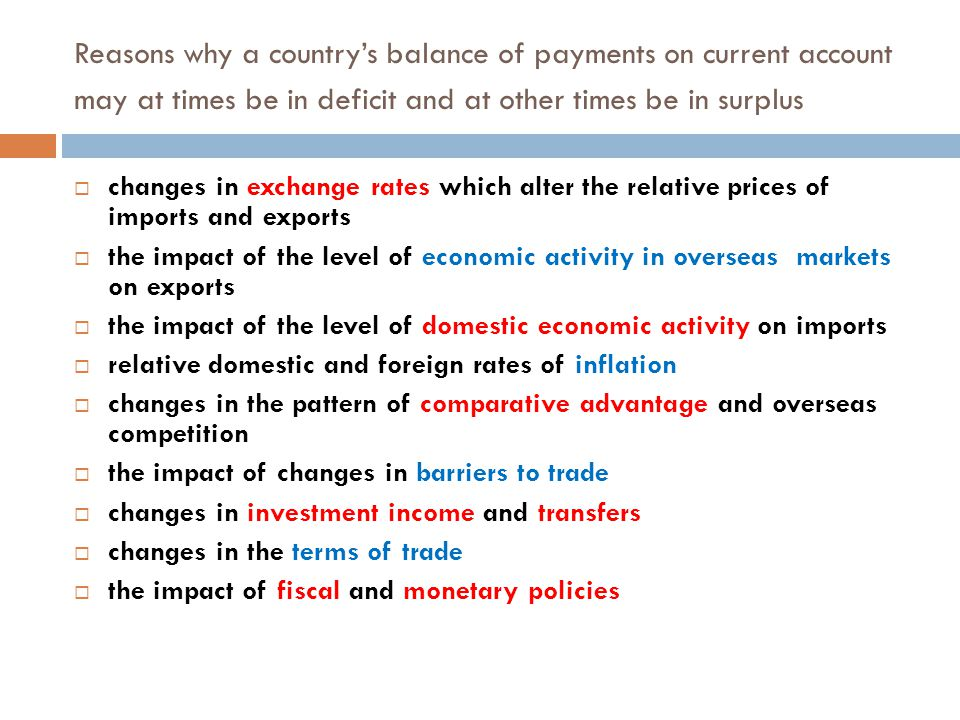 Reasons why a country's balance of payments on current account may at times be in deficit and at other times be in surplus  changes in exchange rates