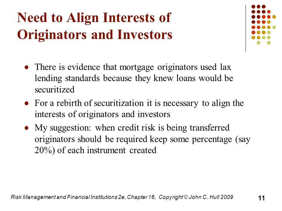 Need to Align Interests of Originators and Investors There is evidence that mortgage originators used lax lending standards because they knew loans would be securitized For a rebirth of securitization it is necessary to align the interests of originators and investors My suggestion: when credit risk is being transferred originators should be required keep some percentage (say 20%) of each instrument created 11 Risk Management and Financial Institutions 2e, Chapter 16, Copyright © John C.