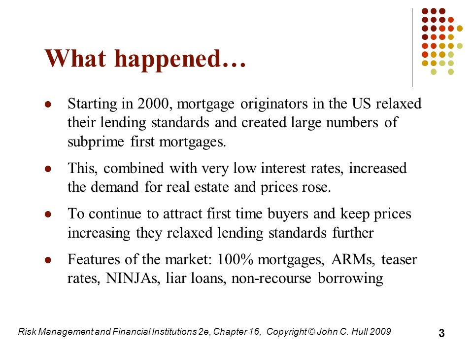 What happened… Starting in 2000, mortgage originators in the US relaxed their lending standards and created large numbers of subprime first mortgages.