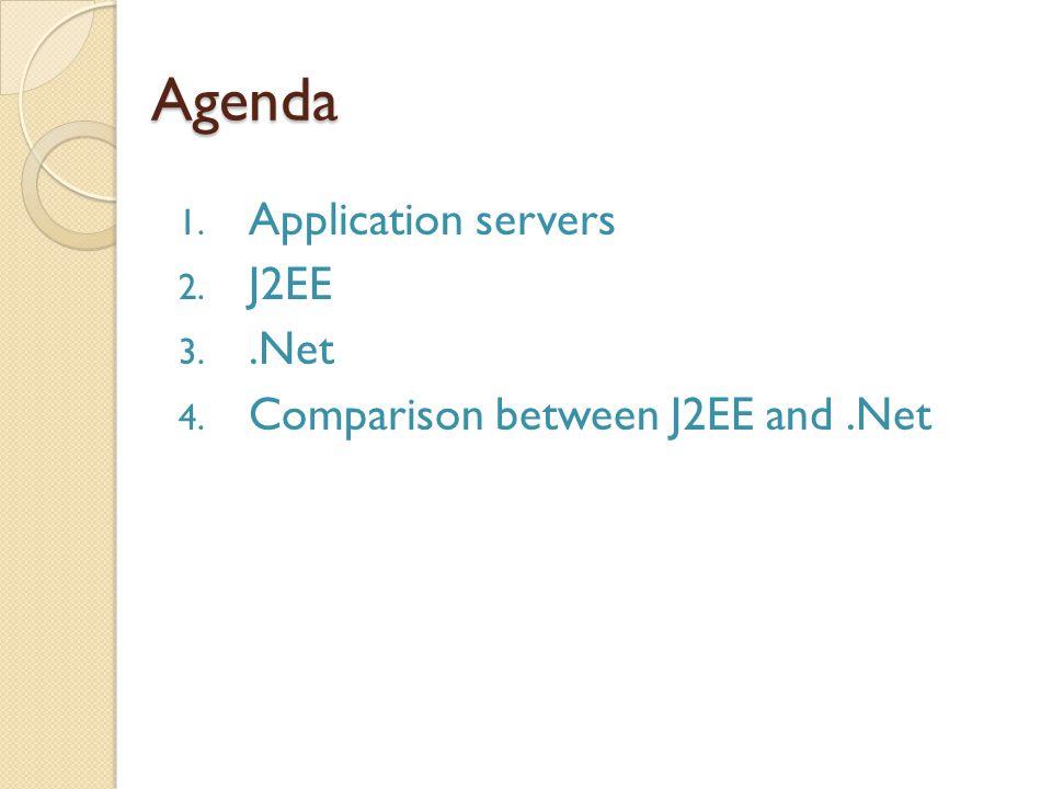 Agenda 1. Application servers 2. J2EE 3..Net 4. Comparison between J2EE and.Net