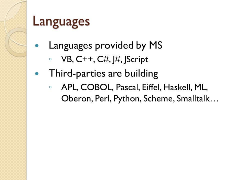 Languages Languages provided by MS ◦ VB, C++, C#, J#, JScript Third-parties are building ◦ APL, COBOL, Pascal, Eiffel, Haskell, ML, Oberon, Perl, Python, Scheme, Smalltalk…