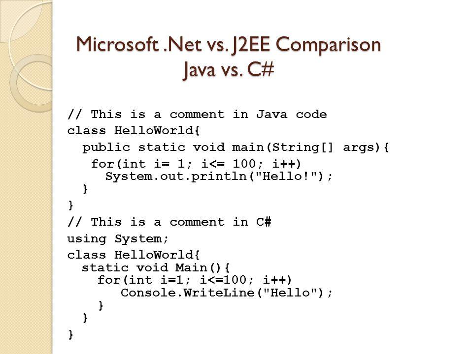 Microsoft.Net vs. J2EE Comparison Java vs.
