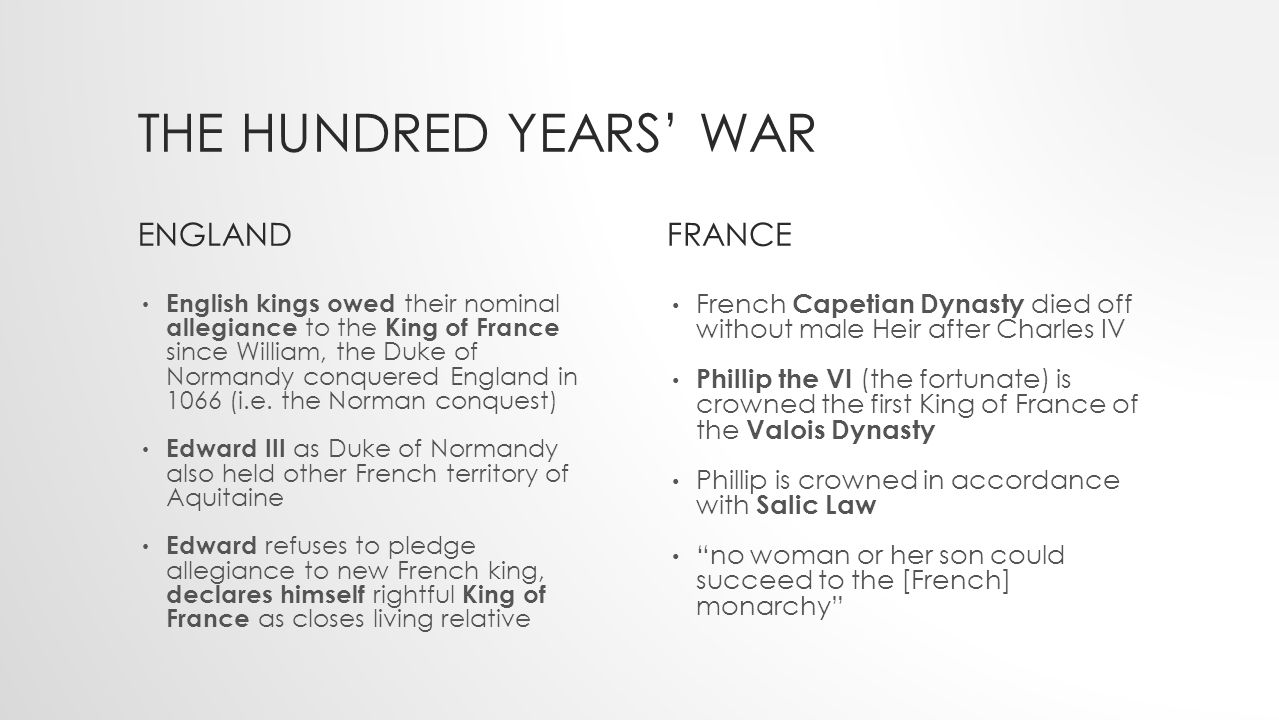 THE HUNDRED YEARS' WAR ENGLANDFRANCE French Capetian Dynasty died off without male Heir after Charles IV Phillip the VI (the fortunate) is crowned the first King of France of the Valois Dynasty Phillip is crowned in accordance with Salic Law no woman or her son could succeed to the [French] monarchy English kings owed their nominal allegiance to the King of France since William, the Duke of Normandy conquered England in 1066 (i.e.