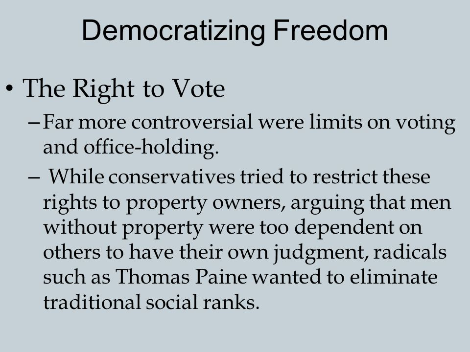 Democratizing Freedom The Revolution in Pennsylvania – The Revolution's radicalism was most evident in Pennsylvania, where almost all the colonial eli