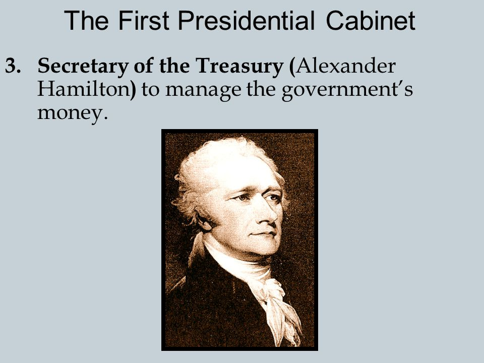 2.Secretary of State ( Thomas Jefferson ) oversee the relations between the U.S. and other countries. The First Presidential Cabinet