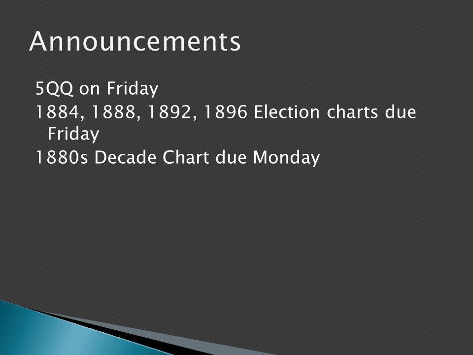 5QQ on Friday 1884, 1888, 1892, 1896 Election charts due Friday 1880s Decade Chart due Monday