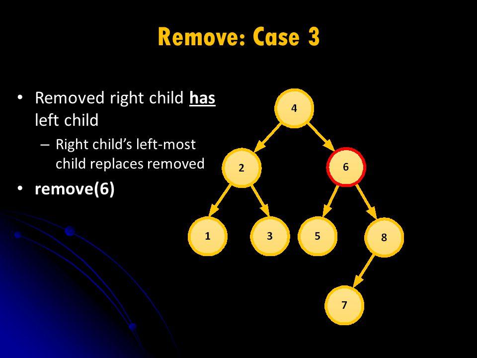Remove: Case 3 Removed right child has left child – Right child's left-most child replaces removed remove(6)