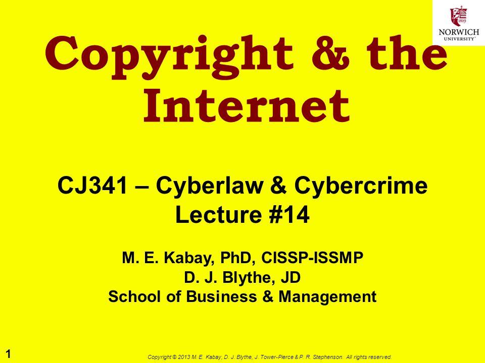 12 Copyright © 2013 M.E. Kabay, D. J. Blythe, J. Tower-Pierce & P.