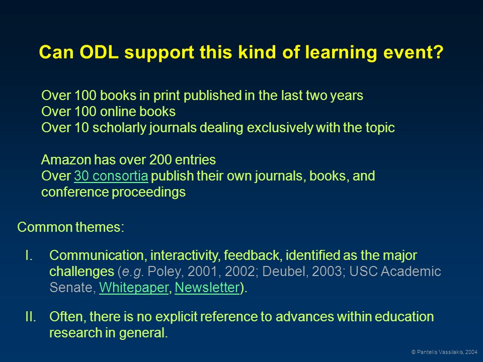 Can ODL support this kind of learning event.