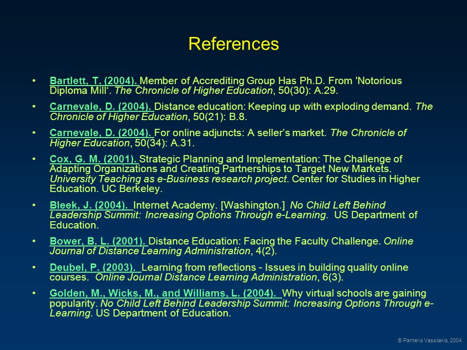 References Bartlett, T. (2004). Member of Accrediting Group Has Ph.D.