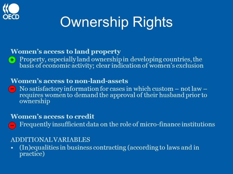 Ownership Rights Women's access to land property Property, especially land ownership in developing countries, the basis of economic activity; clear indication of women's exclusion Women's access to non-land-assets No satisfactory information for cases in which custom – not law – requires women to demand the approval of their husband prior to ownership Women's access to credit Frequently insufficient data on the role of micro-finance institutions ADDITIONAL VARIABLES (In)equalities in business contracting (according to laws and in practice)