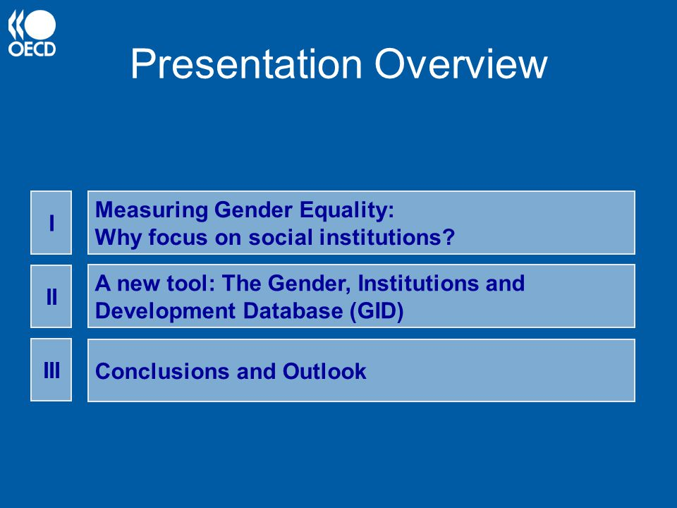 Presentation Overview Measuring Gender Equality: Why focus on social institutions.