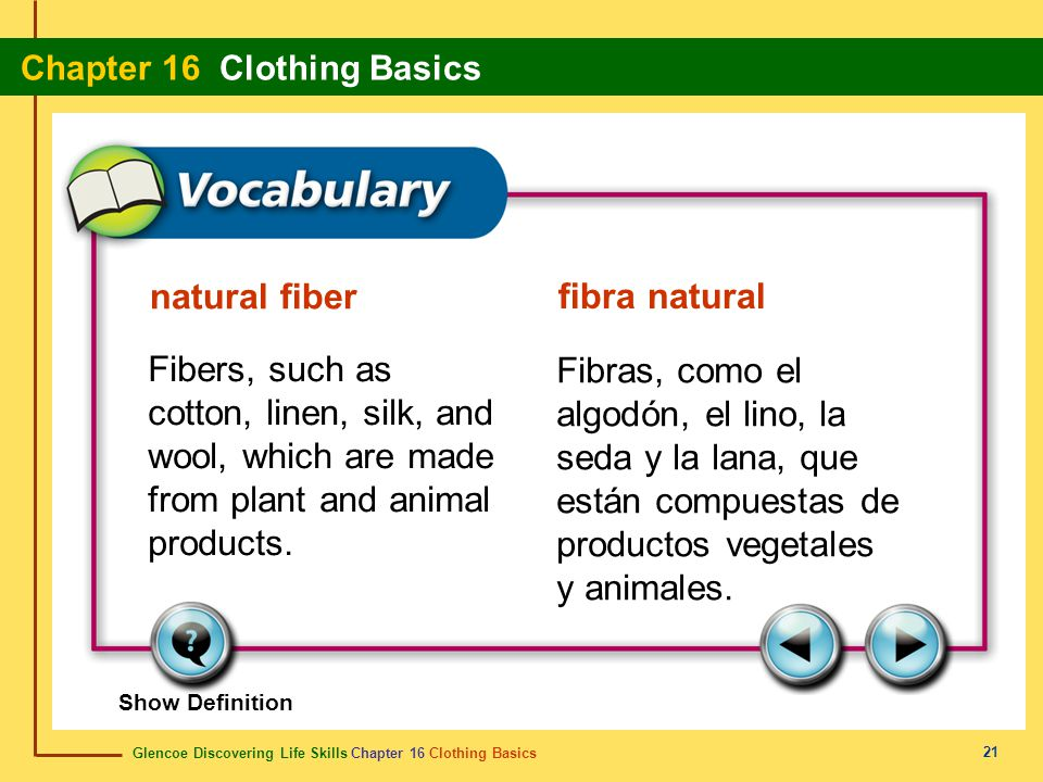 Glencoe Discovering Life Skills Chapter 16 Clothing Basics Chapter 16 Clothing Basics 21 natural fiber fibra natural Fibers, such as cotton, linen, si