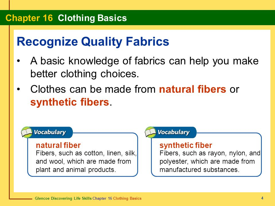 Glencoe Discovering Life Skills Chapter 16 Clothing Basics Chapter 16 Clothing Basics 5 Recognize Quality Fabrics A blend is two or more fibers combined.
