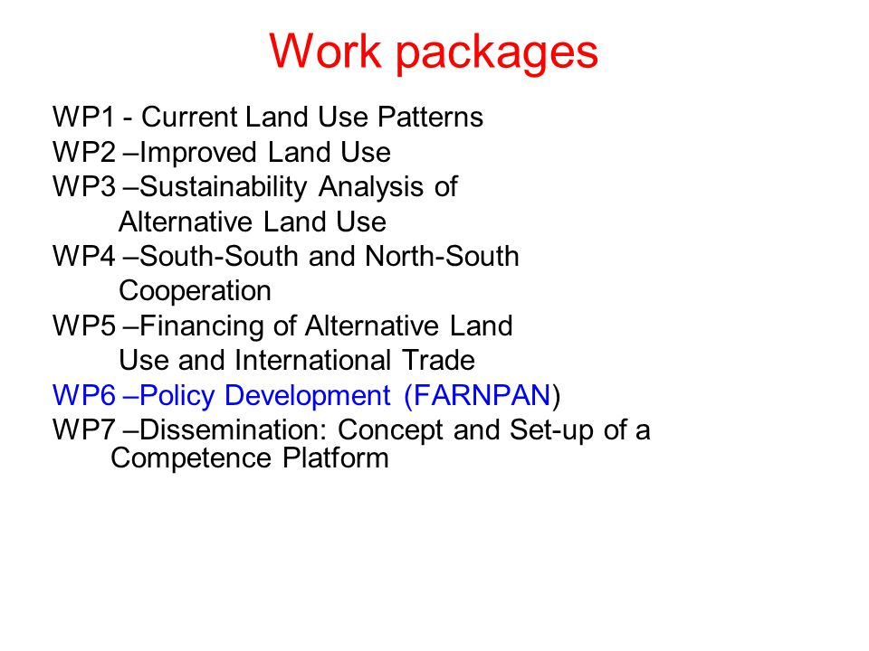 Work packages WP1 - Current Land Use Patterns WP2 –Improved Land Use WP3 –Sustainability Analysis of Alternative Land Use WP4 –South-South and North-South Cooperation WP5 –Financing of Alternative Land Use and International Trade WP6 –Policy Development (FARNPAN) WP7 –Dissemination: Concept and Set-up of a Competence Platform