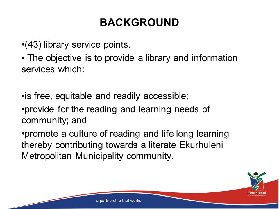 BACKGROUND (43) library service points.