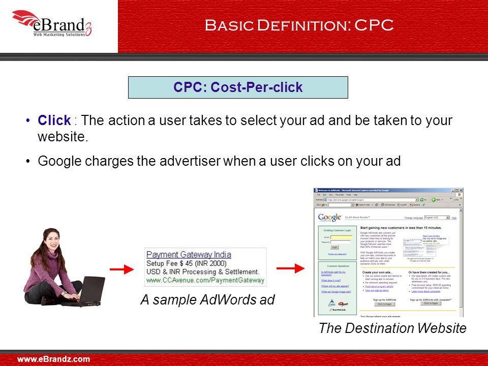 Basic Definition: CPC CPC: Cost-Per-click Click : The action a user takes to select your ad and be taken to your website.
