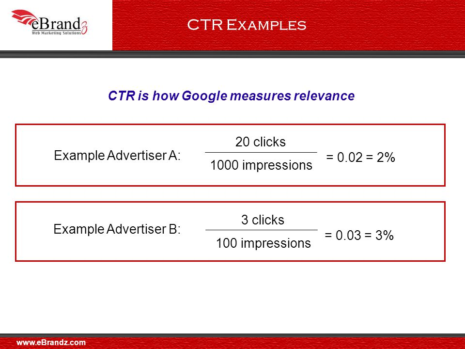CTR Examples 20 clicks 1000 impressions = 0.02 = 2% Example Advertiser A: CTR is how Google measures relevance 3 clicks 100 impressions = 0.03 = 3% Example Advertiser B: