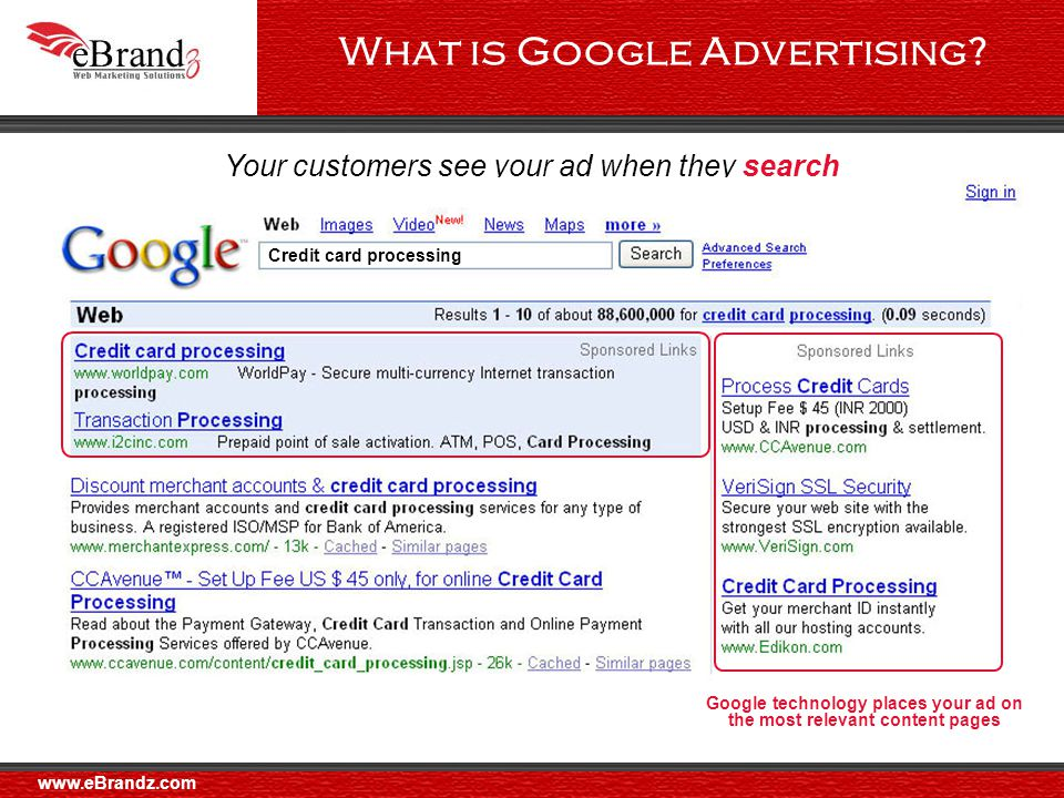 Your customers see your ad when they surf Google Network properties Google technology places your ad on the most relevant content pages What is Google Advertising.