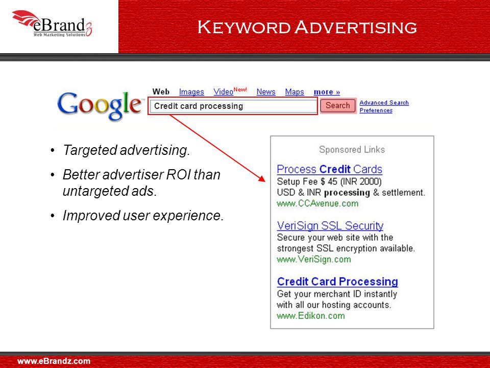 Benefits of AdWords : Timing Ads are continuously matched to Internet users' interests Ads are placed as buying decisions are made The Result : You reach your audience at the right time, with the right message Timing www.eBrandz.com