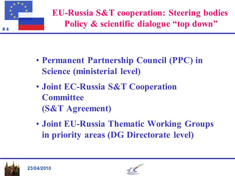 23/04/2010 # 5 Joint EU-RU Thematic Research Working Groups Nanotechnologies & New Materials Health Food, Agriculture, Biotechnologies Non-nuclear Energy Aeronautics Space Nuclear Energy Fission Research Information & Communications Technologies Environment […]