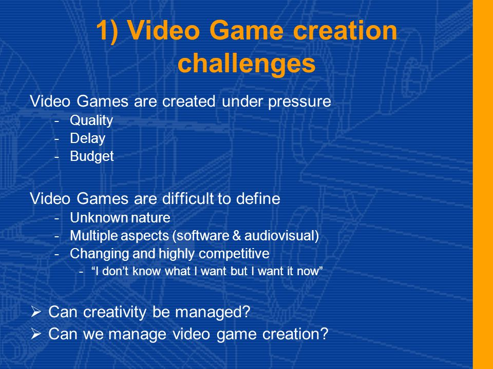 2.a) Interactivity: grammar of Video Games Nature of video games is based on: -Existentialism (What we do…) -Virtuosity pleasure (We are heroes) -Non Cartesian or linear but iterative and empirical Gaming experience is built on: -Call for adventure (Aspiration to believe) -Intuitive controls -Structured loops (Challenges / try / result) Gaming pleasure requires -Instant understanding of goals and means -Constant reward for the player