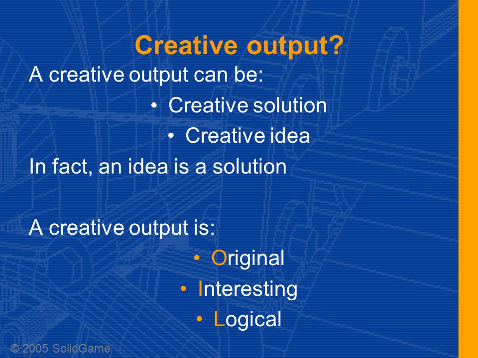 Creative output in video game dev.