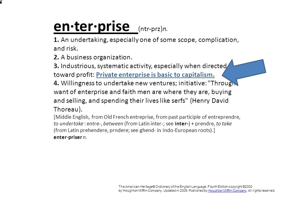 en·ter·prise (ntr-prz)n. 1. An undertaking, especially one of some scope, complication, and risk.