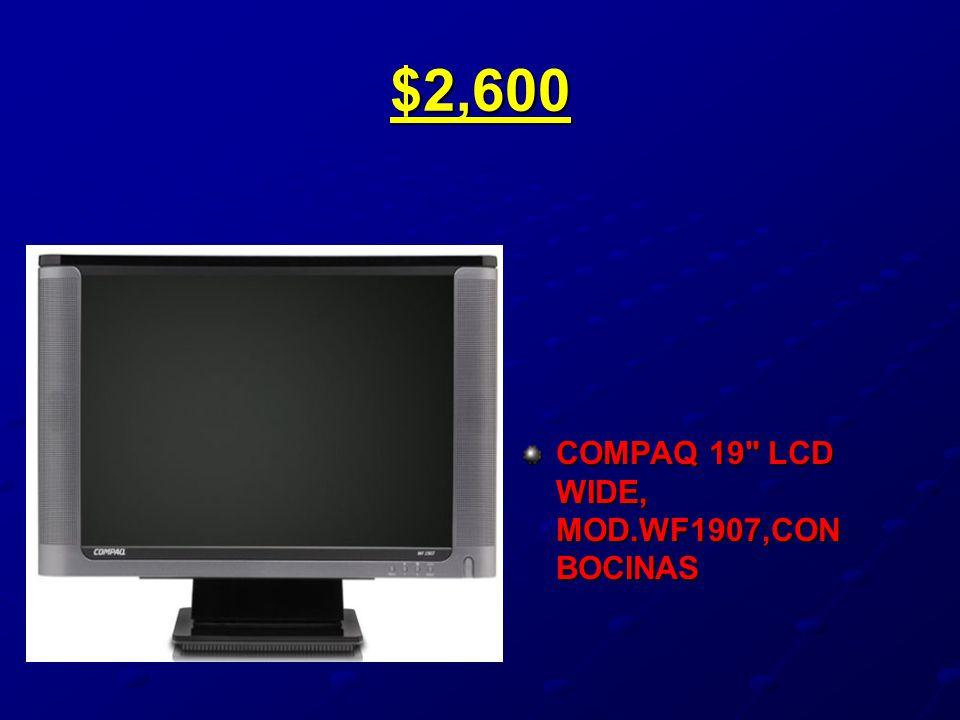 $2,600 COMPAQ 19 LCD WIDE, MOD.WF1907,CON BOCINAS
