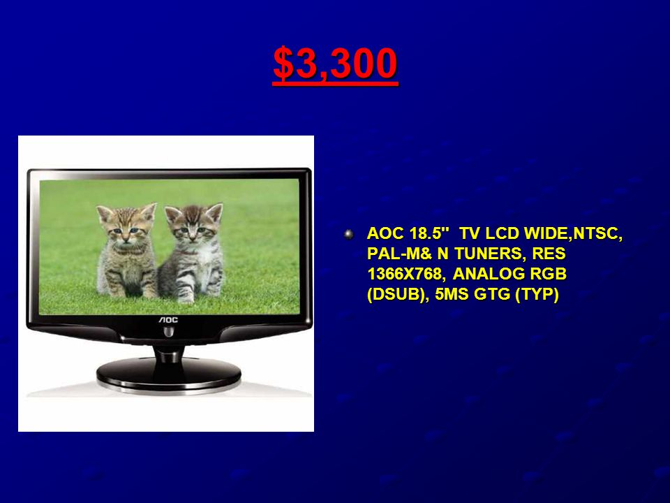 $3,300 AOC 18.5'' TV LCD WIDE,NTSC, PAL-M& N TUNERS, RES 1366X768, ANALOG RGB (DSUB), 5MS GTG (TYP)