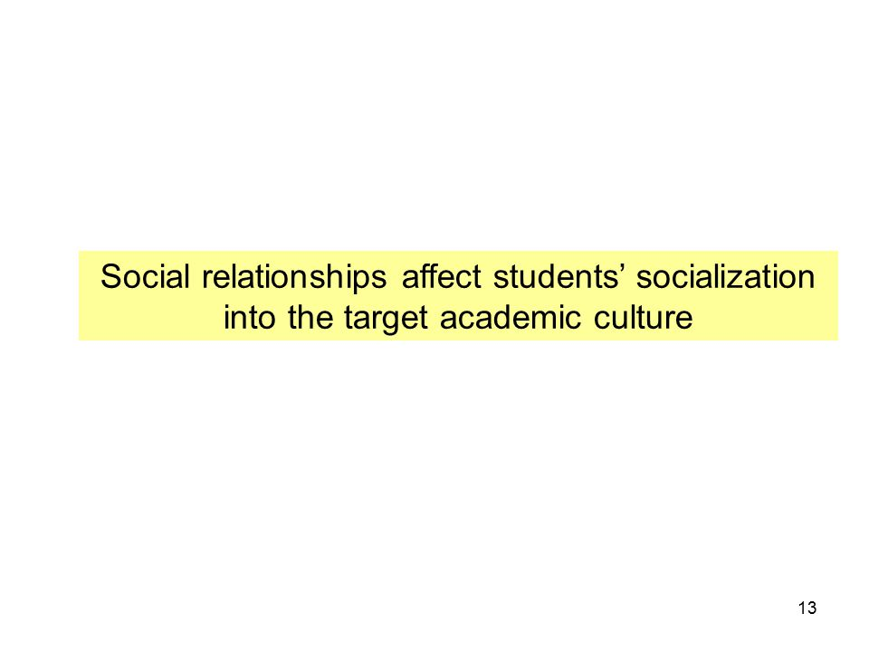 13 Social relationships affect students' socialization into the target academic culture