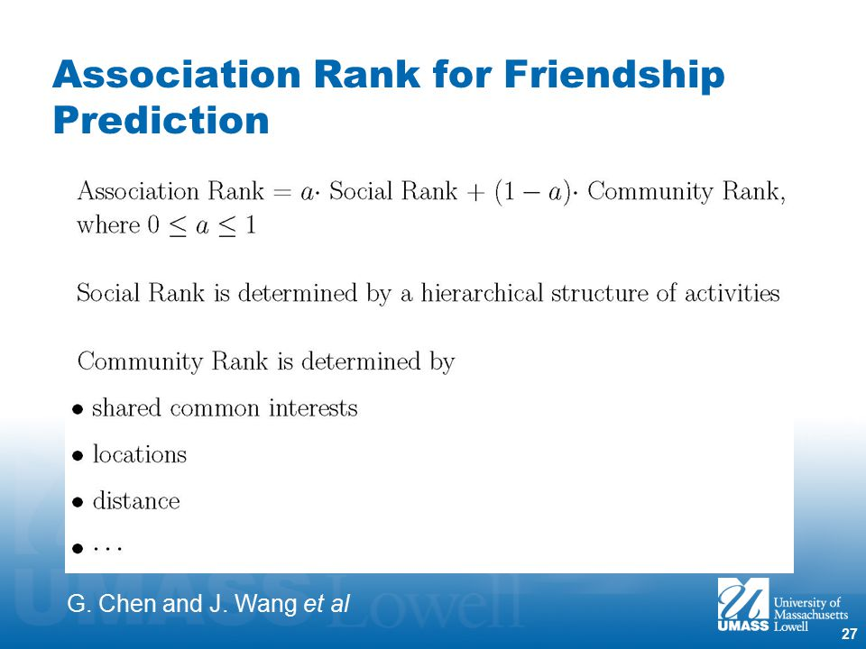 27 Association Rank for Friendship Prediction G. Chen and J. Wang et al