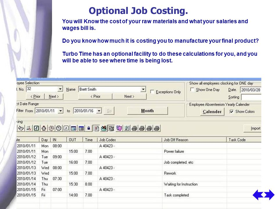 Optional Job Costing.