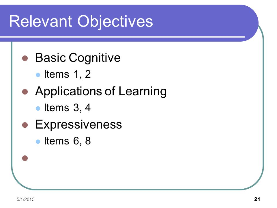 5/1/2015 21 Relevant Objectives Basic Cognitive Items 1, 2 Applications of Learning Items 3, 4 Expressiveness Items 6, 8